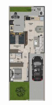 <strong>Casa 2 quartos  com solário e churrasqueira</strong>
